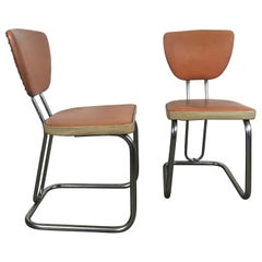 Pair of Stylized Art Deco, Machine Age Chrome Side Chairs by Daystrom