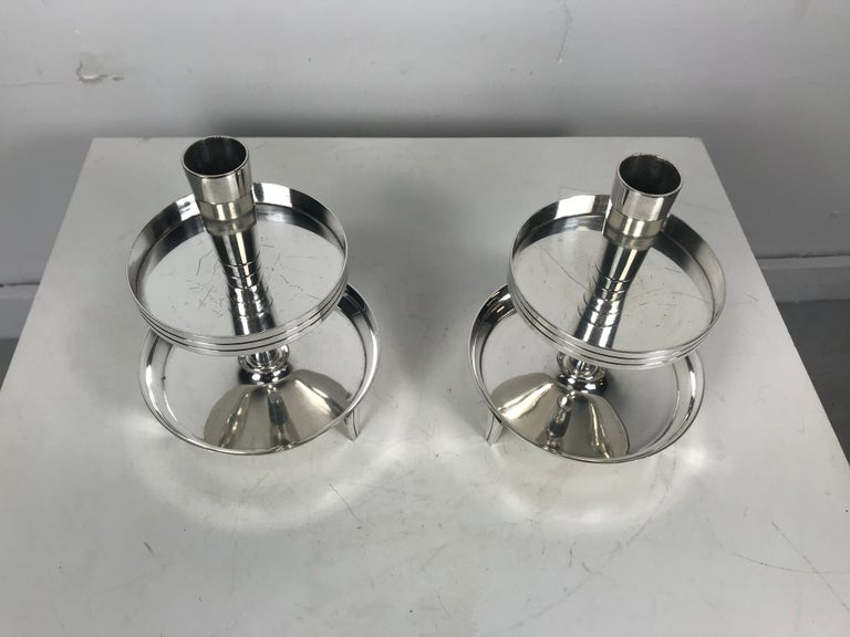 Mid-Century Modern Pair of Stylized Tiered Silver plated Candleholders by Tommi Parzinger For Sale