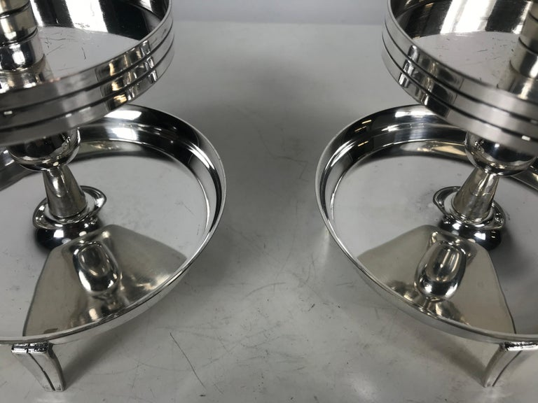 American Pair of Stylized Tiered Silver plated Candleholders by Tommi Parzinger For Sale