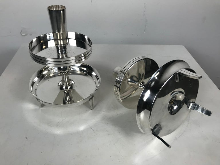 Pair of Stylized Tiered Silver plated Candleholders by Tommi Parzinger In Good Condition For Sale In Buffalo, NY