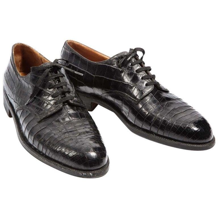 Pair Superb Royal Maker A. Gillet Paris Gentleman's 1920s  Black Crocodile Shoes For Sale