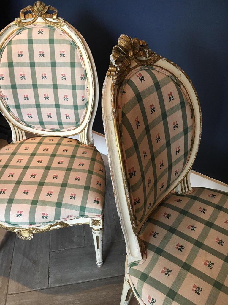 Pair Swedish 19th Century Gustavian style Parcel Gilt Side Chairs For Sale 5