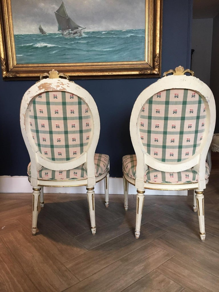 Carved Pair Swedish 19th Century Gustavian style Parcel Gilt Side Chairs For Sale