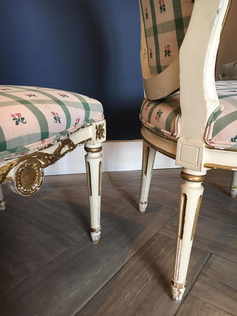 Pair Swedish 19th Century Gustavian style Parcel Gilt Side Chairs For Sale 2