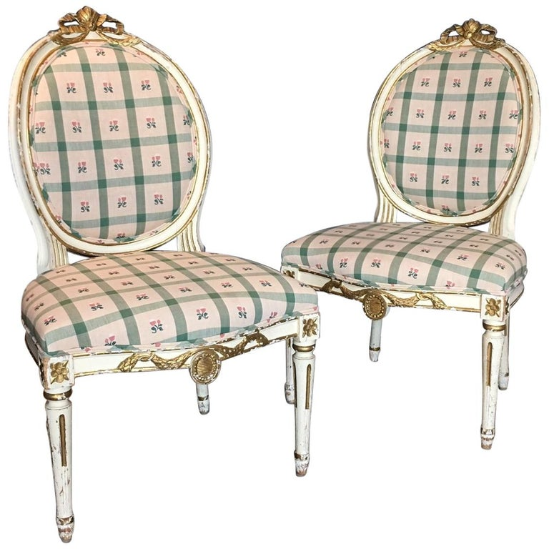 Pair Swedish 19th Century Gustavian style Parcel Gilt Side Chairs For Sale