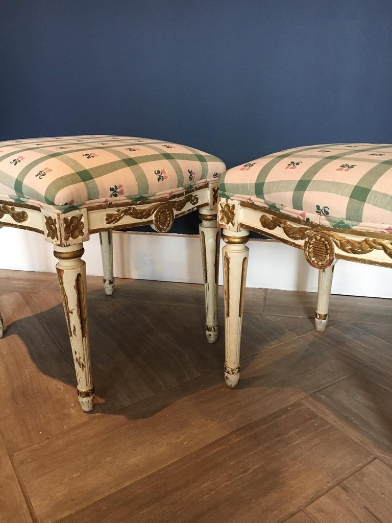 Wood Pair of Swedish 19th Century Gustavian Style Parcel Gilt Stools For Sale