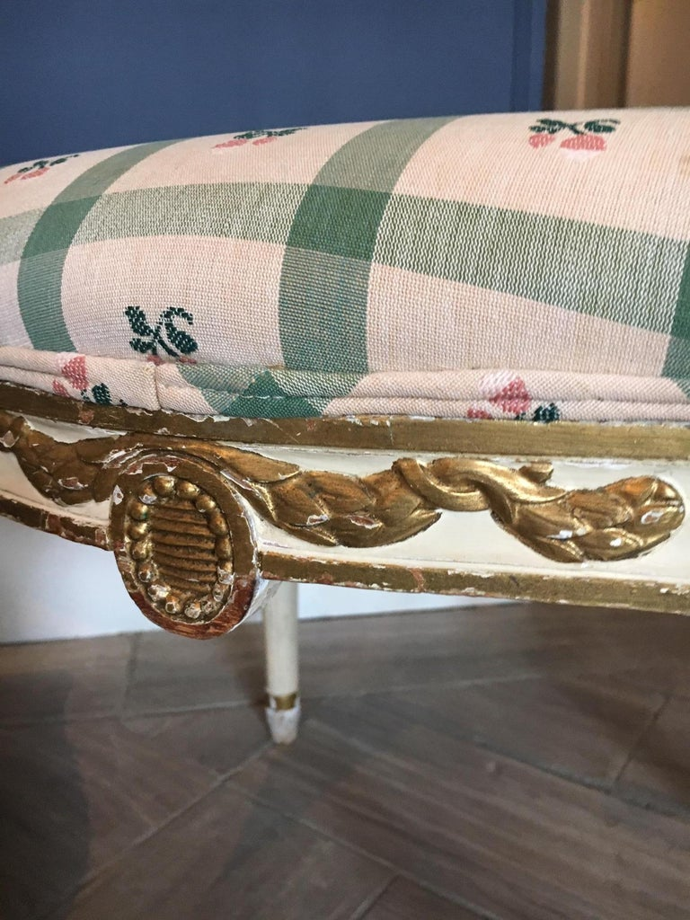 Pair of Swedish 19th Century Gustavian Style Parcel Gilt Stools For Sale 2