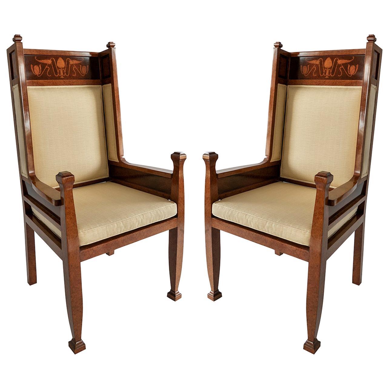 Pair Swedish Art Deco Inlaid High Back Armchairs, Carl Malmsten