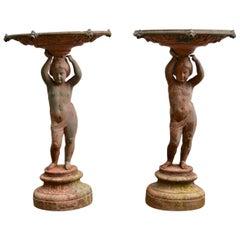 Pair of Swedish Cast Iron Figural Garden Jardinières, by Bolinder, Stockholm