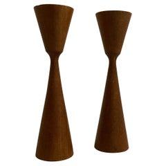 Pair Swedish Designer Modern Teak Wood Candlesticks