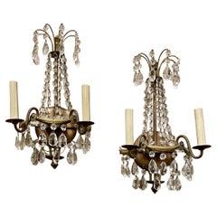 Crystal & Bronze Swedish Gustavian Two Light Sconces