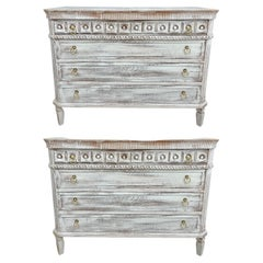 Pair Swedish Style Distress Painted Three-Drawer Commodes Chests or Nightstands
