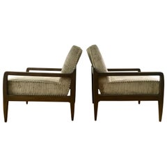 Pair T. H. Robsjohn-Gibbings Style Hand Grained Walnut Lounge Chairs