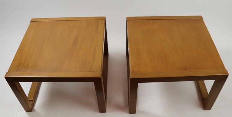 Mahogany Pair of Tables designed by Wormley for Dunbar For Sale