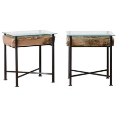 Pair Tables w/Antique French Leaf-Carved Stone Slabs w/ Metal Bases & Glass Tops