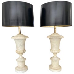 Pair Italian Urn Neoclassic Alabaster Table Lamps