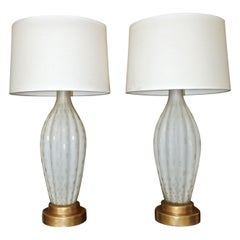 Pair of Tall Murano Satin White & Gold Controlled Bubble Table Lamps