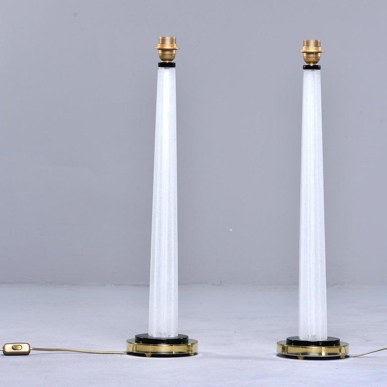 Mid-Century Modern Pair of Tall Slender Seguso White Murano Glass Lamps For Sale