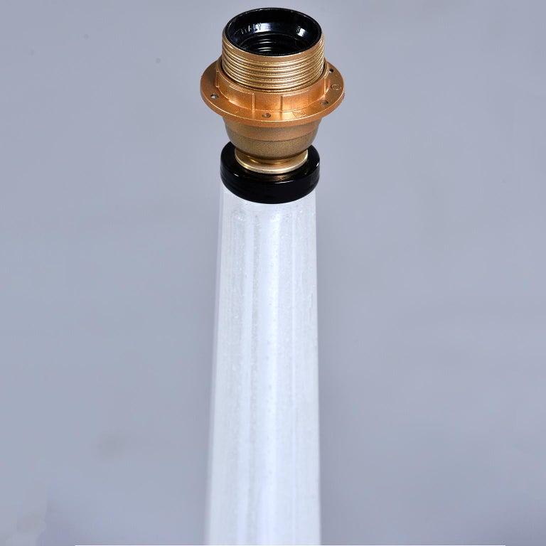 Brass Pair of Tall Slender Seguso White Murano Glass Lamps For Sale