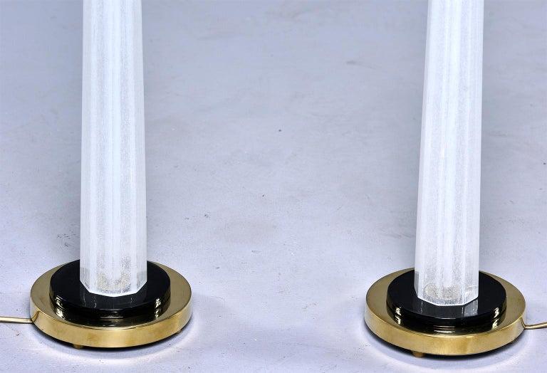 Pair of Tall Slender Seguso White Murano Glass Lamps For Sale 1