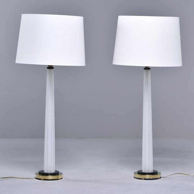 Pair of Tall Slender Seguso White Murano Glass Lamps For Sale 2