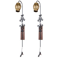 Pair of Tall Wrought Iron Wall Sconces with Hanging Brass Moroccan Lanterns