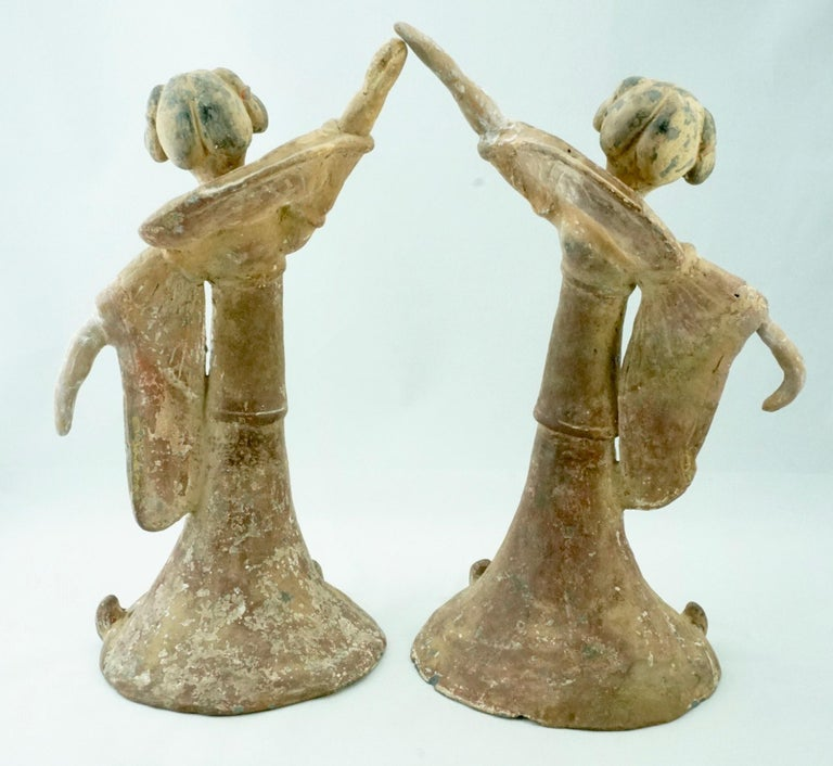 Chinese Pair Tang Dynasty Dancing Figures, China '618-907AD' For Sale