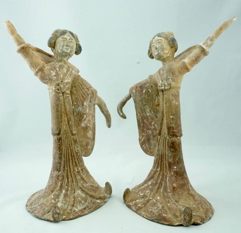 Pair Tang Dynasty Dancing Figures, China '618-907AD' In Good Condition For Sale In Dallas, TX