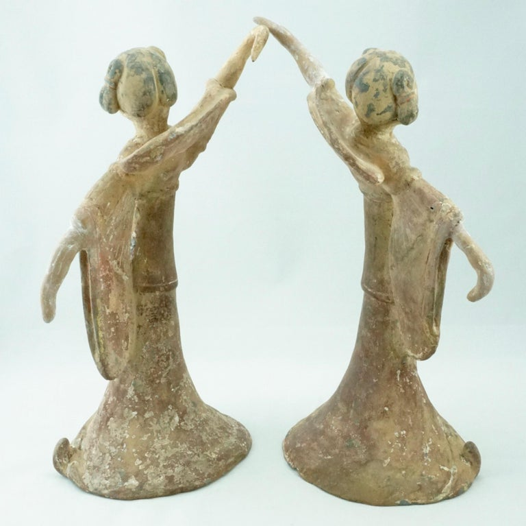 18th Century and Earlier Pair Tang Dynasty Dancing Figures, China '618-907AD' For Sale