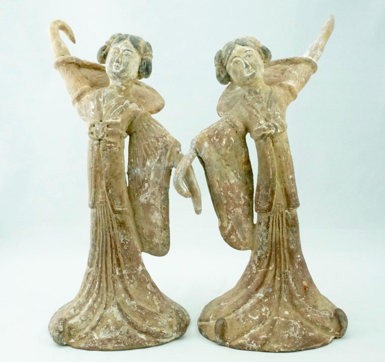 Terracotta Pair Tang Dynasty Dancing Figures, China '618-907AD' For Sale