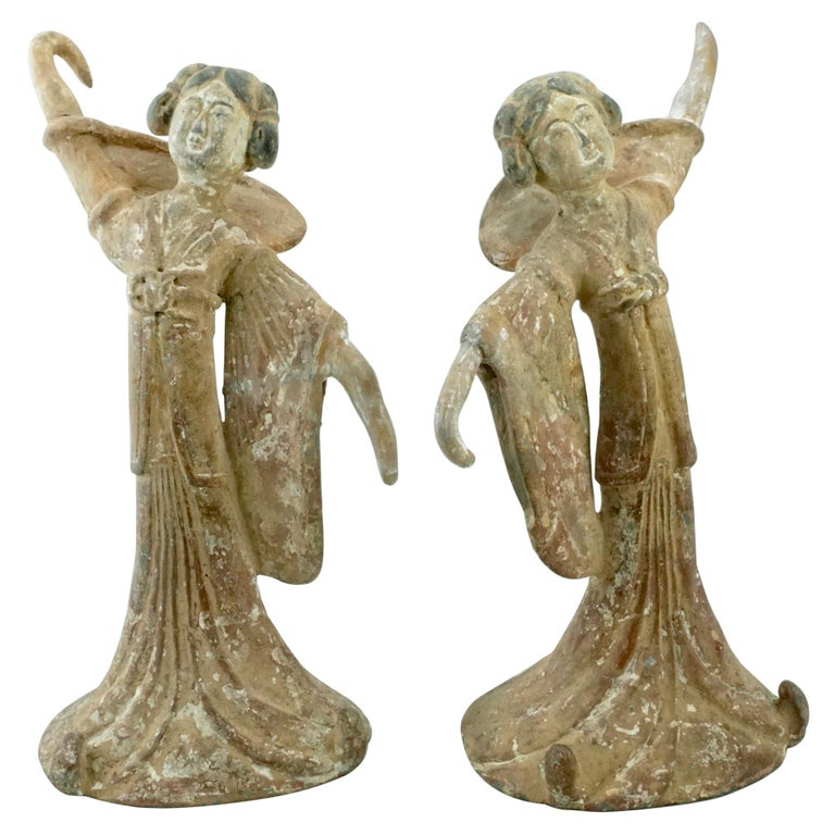 Pair Tang Dynasty Dancing Figures, China '618-907AD' For Sale