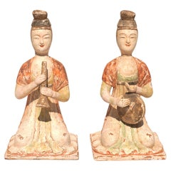 Pair Tang Dynasty Tom Pottery Musician Figures 618-906 AD