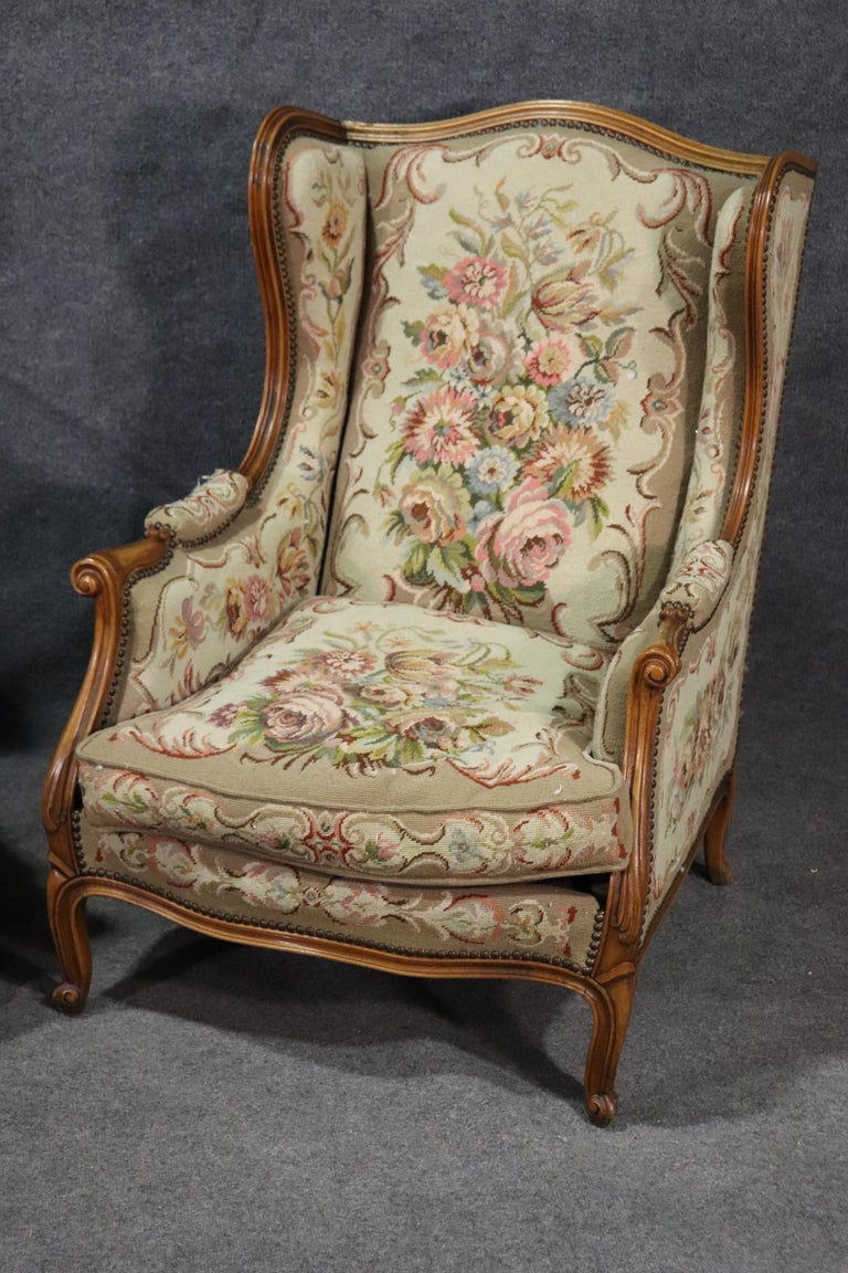 Pair of Tapestry Upholstered French Louis XV Walnut Wingchairs Bergère Chairs In Good Condition For Sale In Swedesboro, NJ