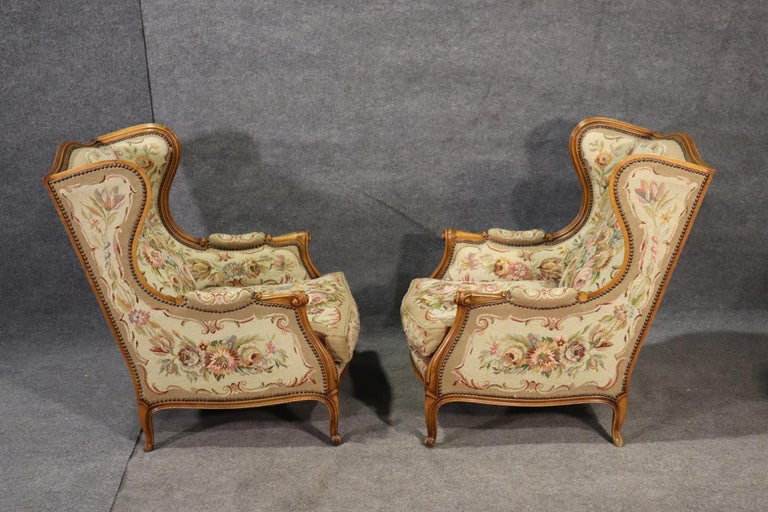 Mid-20th Century Pair of Tapestry Upholstered French Louis XV Walnut Wingchairs Bergère Chairs For Sale
