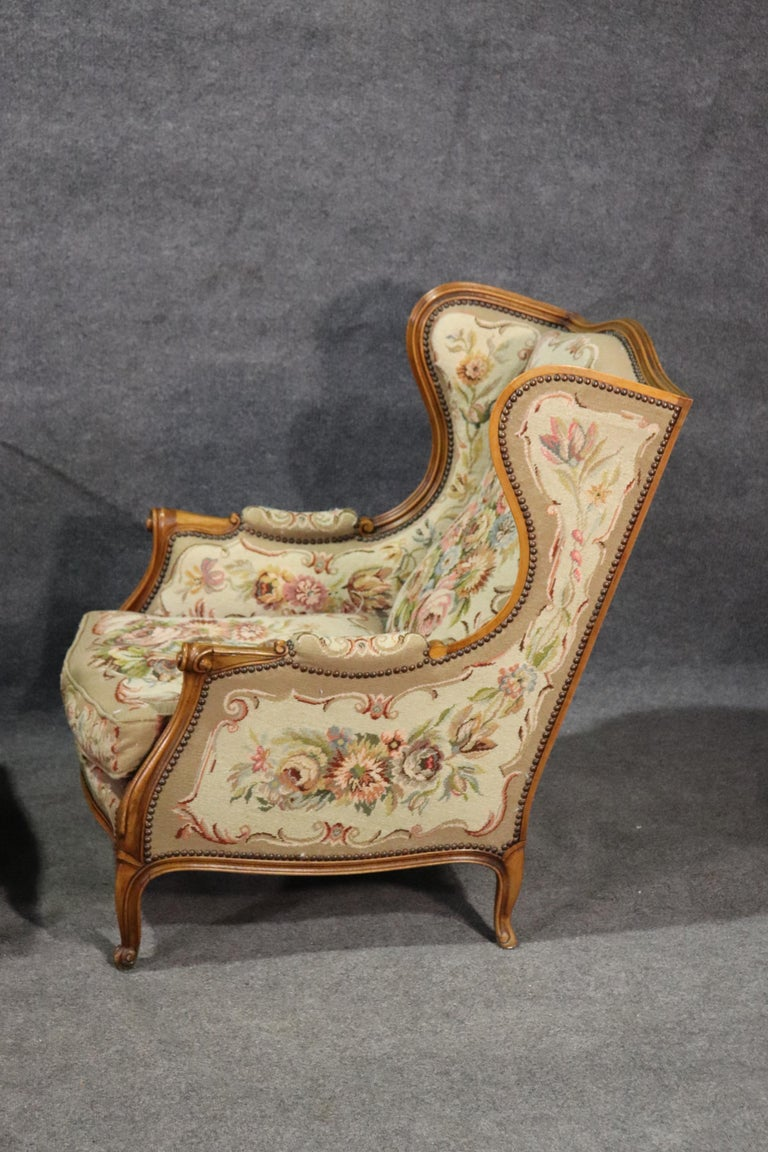 Pair of Tapestry Upholstered French Louis XV Walnut Wingchairs Bergère Chairs For Sale 1