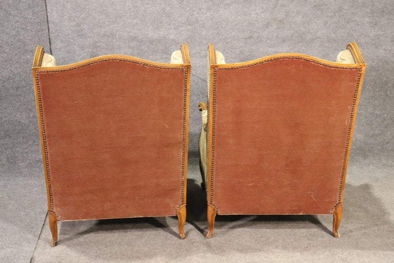 Pair of Tapestry Upholstered French Louis XV Walnut Wingchairs Bergère Chairs For Sale 3
