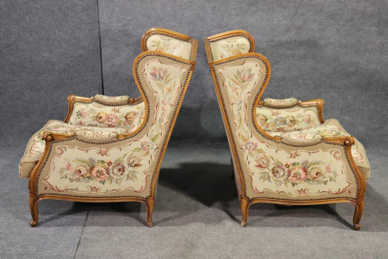 Pair of Tapestry Upholstered French Louis XV Walnut Wingchairs Bergère Chairs For Sale 4