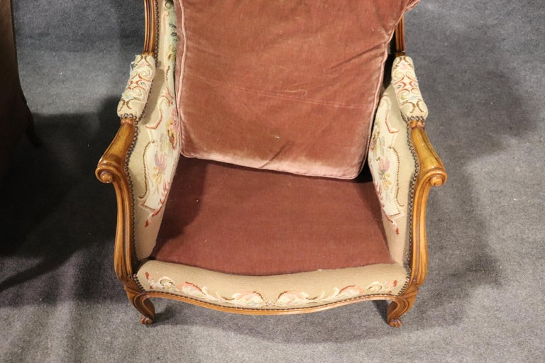 Pair of Tapestry Upholstered French Louis XV Walnut Wingchairs Bergère Chairs For Sale 5