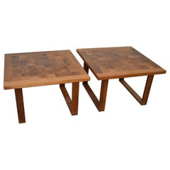 Pair Teak Danish Checkerboard Tables Poul Cadovius for France & Sons