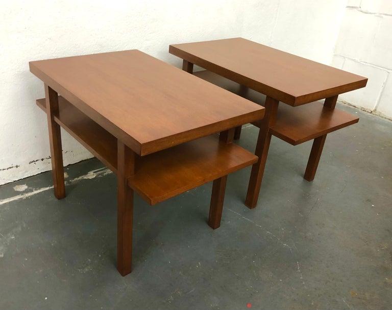 Mid-Century Modern Pair T.H. Robsjohn Gibbings Tiered Side Tables For Sale