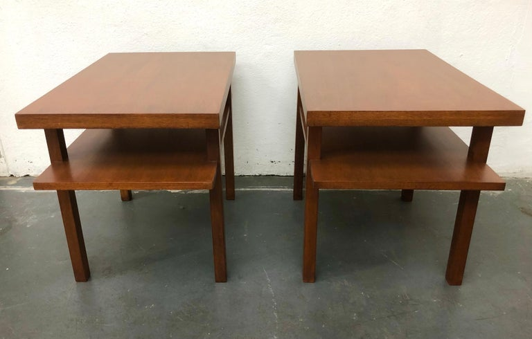 American Pair T.H. Robsjohn Gibbings Tiered Side Tables For Sale