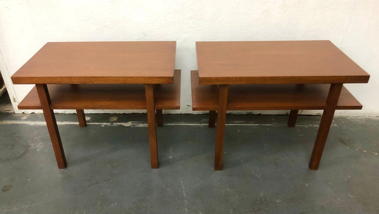 Stained Pair T.H. Robsjohn Gibbings Tiered Side Tables For Sale