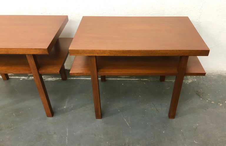 Pair T.H. Robsjohn Gibbings Tiered Side Tables In Excellent Condition For Sale In Brooklyn, NY