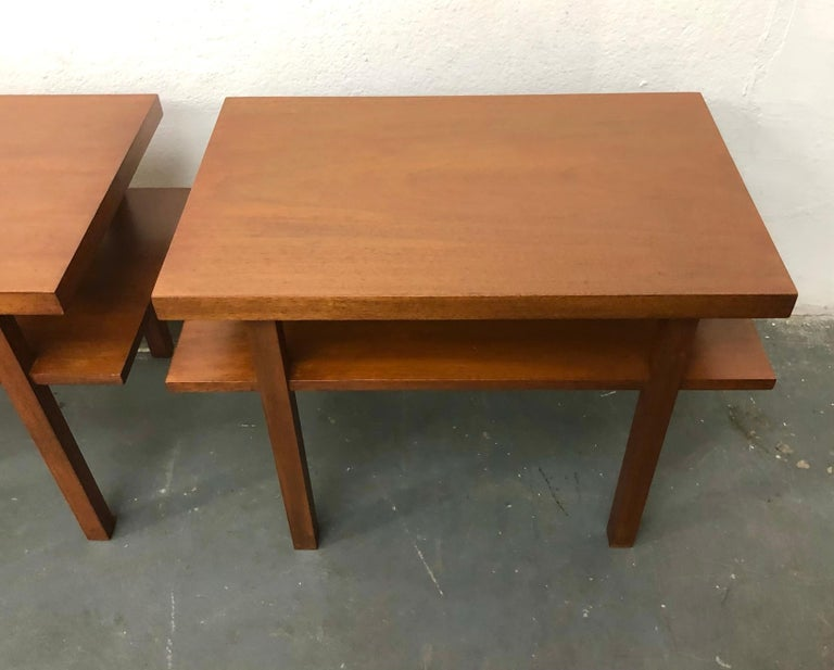 Mahogany Pair T.H. Robsjohn Gibbings Tiered Side Tables For Sale