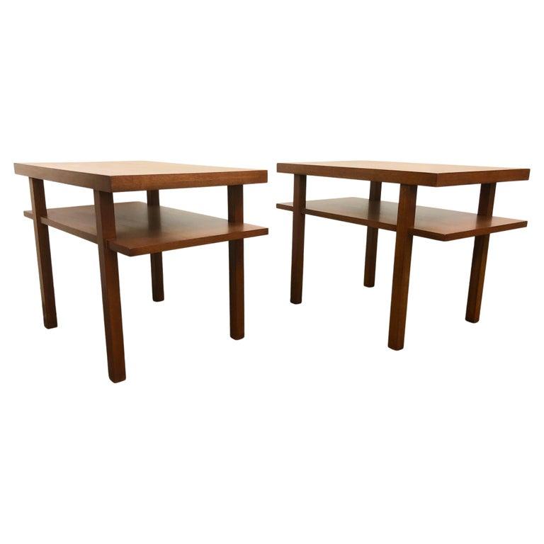 Pair T.H. Robsjohn Gibbings Tiered Side Tables For Sale