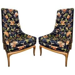 Pair of T.H. Robsjohn-Gibbings Tufted High Back Chairs for Widdicomb