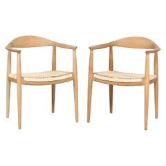Pair The Chair by Hans J Wegner 503 of Oak + Cane made by Johannes Hansen, 1960s