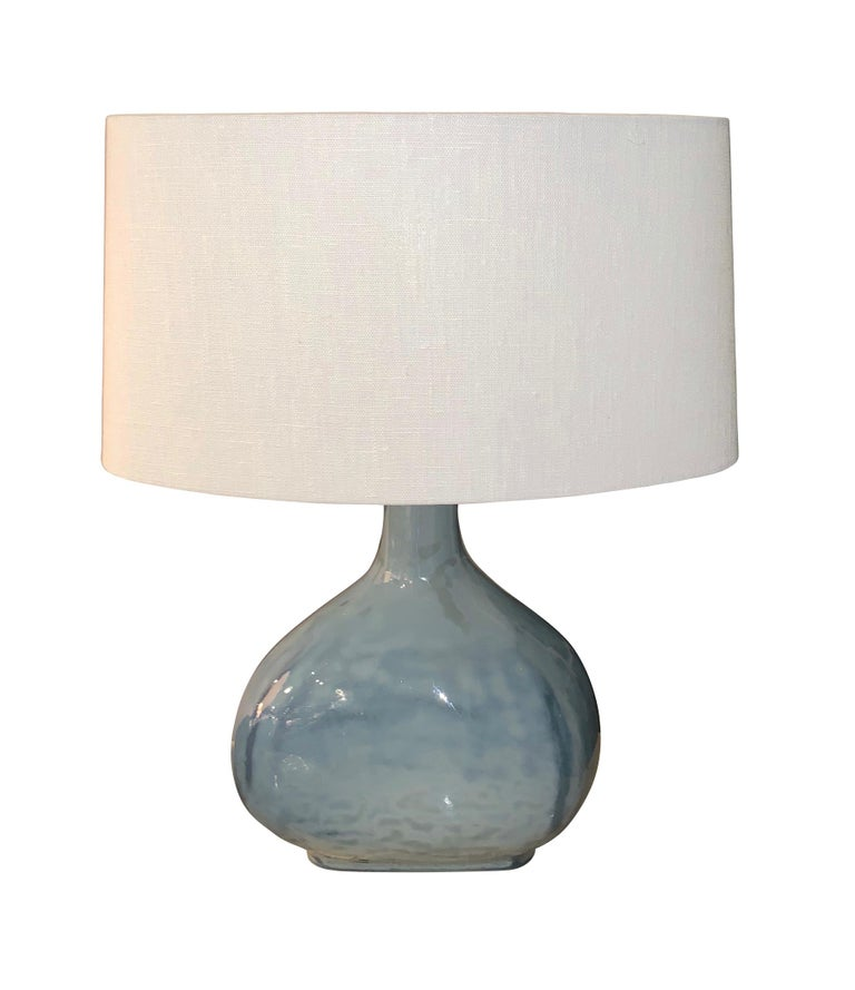 Chinese Blue Glass Pair Oval Shaped Table Lamps, China, Contemporary For Sale