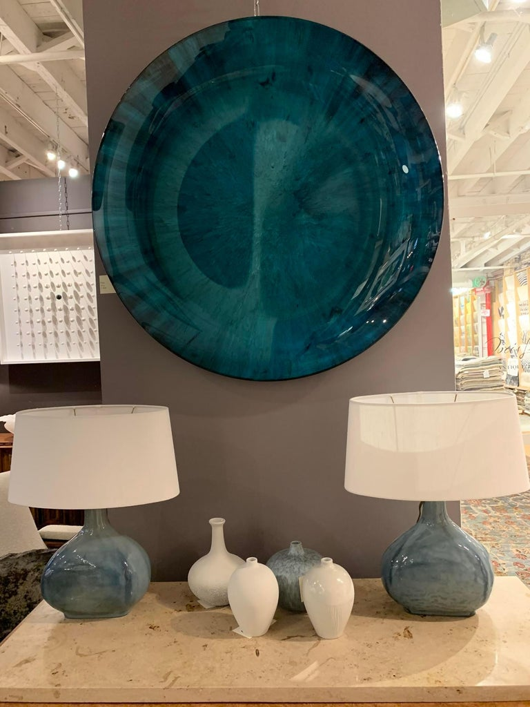 Blue Glass Pair Oval Shaped Table Lamps, China, Contemporary In New Condition For Sale In New York, NY