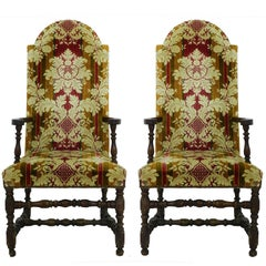 Pair of Throne Chairs 19th Century Spanish Open Armchairs Upholstered circa 1850